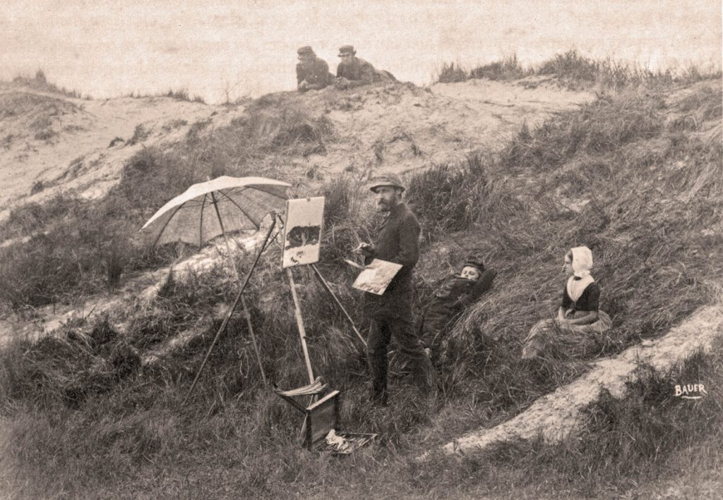The Belgian painter Emile Claus at work in the Domburg dunes, ca. 1879.