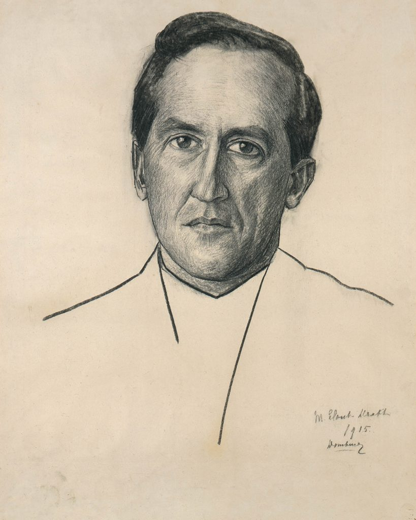 Mies Elout-Drabbe, Portrait of Piet Mondrian, 1915, charcoal and black chalk on paper, Kunstmuseum, The Hague.