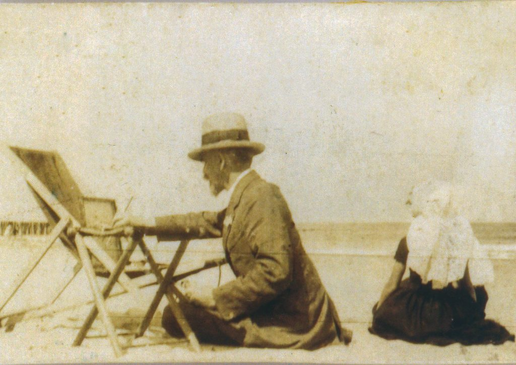 The Hungarian artist Maurice Góth, painting on the Domburg Beach, ca. 1920.