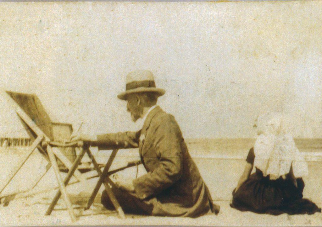The Hungarian artist Maurice Góth, painting on the Domburg Beach, ca. 1920.