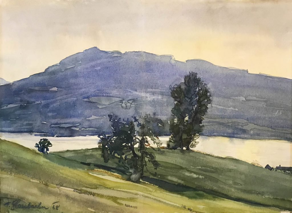 Franz Glaubacker, Der Attersee / The Attersee, 1948, water colour on paper, ICEAC CFVV.