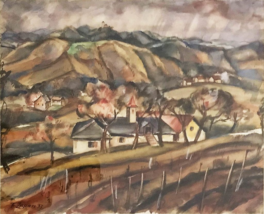 France Zupan, Slovenske Gorice / The Hills of Slovenia, 1935, water colour on paper, ICEAC CFVV.