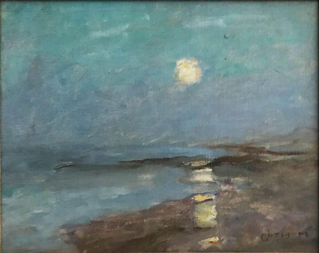 Maurice Goth, Zee bij maanlicht, z.j., olieverf op paneel, ICEAC CFVV.