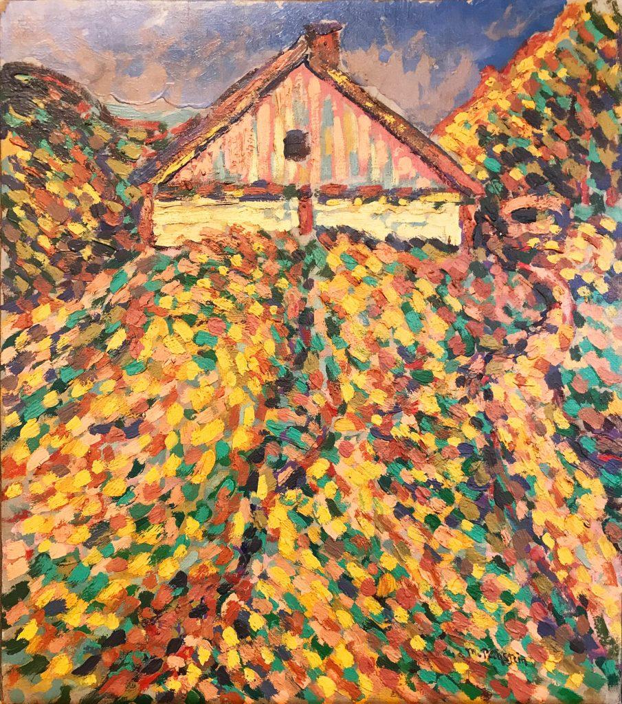 Max Pechstein, Haus auf der Kuhrischen Nehrung, Nidden / Huis op de Kuhrische Nehrung, Nidden, ca. 1909-1912, olieverf op doek, ICEAC CFVV.