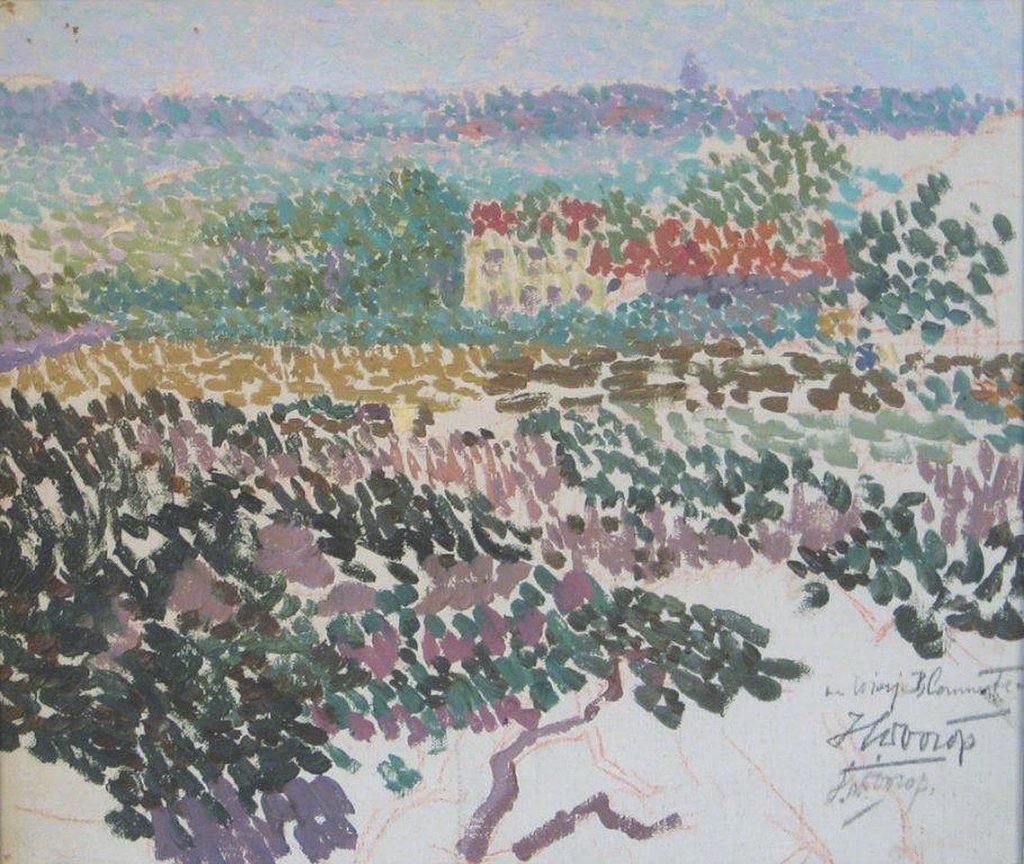 Jan Toorop, Zicht op Domburg, ca. 1903, olieverf en krijt op doek, MTVP Museum Domburg (schenking Leo en Wendy van Os).